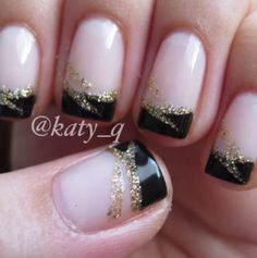 Black french tip nail designs black tip nail art black and gold french Gold French Tip, Black French Tips, French Tip Nail Art, French Tip Nail Designs, New Nail Designs, Black Nail Designs, French Art, Wedding Nails, Wedding Gold