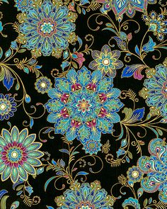 240517 status Dynasty - Inlaid Medallions - Black/Gold I love this fabric! It would make a great stack'n'whack quilt! If I only knew the repeat! Motifs Textiles, Textile Patterns, Textile Art, Print Patterns, Deco Floral, Motif Floral, Pattern Art, Pattern Design, Motifs Art Nouveau