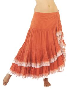 Flamenco Skirt in Orange Cotton and Broderie by PoisonBabe on Etsy, $125.00