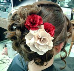 Prom updo with flowers in hair