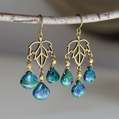 Azurite Drop Brass Chandelier Earrings Blue Stone by TheGoosle