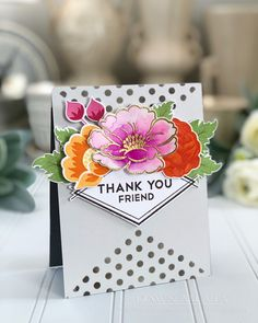 Thank You Friend Card by Dawn McVey for Papertrey Ink (June 2018)