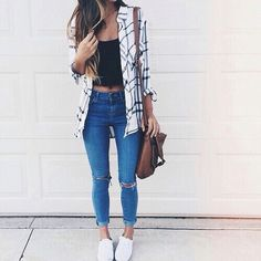 Plaid White Shirt, Black Crop top and Blue jeans