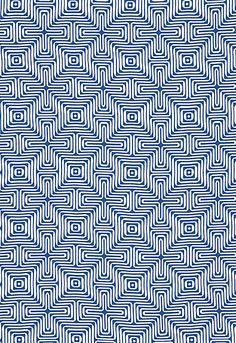 Pattern idea   Schumacher Fabric Matelasse: 65320 Amazing Maze in Ocean. Trina Turk | Indoor-Outdoor 2 #EstateofDesign