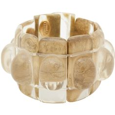Dominique Denaive Florence Gold Resin Bracelet ($170) ❤ liked on Polyvore featuring jewelry, bracelets, gold, gold bead bracelet, yellow gold bracelet, gold bangles, yellow gold bangle and resin bracelet