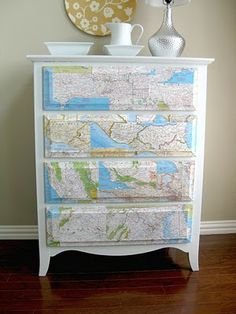 Mod podge maps on furniture. - Wendy Schultz via Maria Featon onto DIY Home Projects. Furniture Makeover, Diy Furniture, Dresser Furniture, Furniture Plans, Modern Furniture, Furniture Design, Make Your Own Map, Map Crafts, Travel Crafts