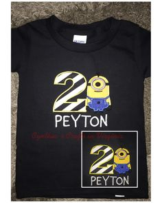 Custom Birthday Boy T-Shirt  #minions #minionbirthday #minionparty #minionshirt #embroidery #birthdaytshirt #custommade #toddler #cynthiascraftsinvirginia #woodbridgeva