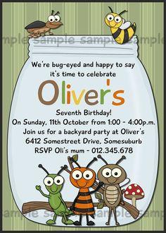 Bug Birthday Printable Invitation - Critters Birthday - Bug Jar Birthday - Bag Tag Available - DIY Printing. $16.00, via Etsy.