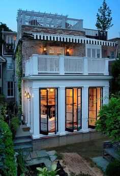 exquisite architecture with large French Doors, Pilasters and a great balcony above. Future House, My House, Dutch House, Dutch Door, Architecture Design, French Architecture, Windows Architecture, Beautiful Architecture, House Goals