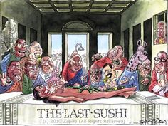 Zapiro's 'Last Sushi' illustrates the 'good life' of Zuma and other ANC politicians and their related business partners. | www.zapiro.com