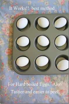 All you do is place the eggs in a muffin tray and bake at 325 degrees for 25-30 minutes Take them out and put in a bowl of cool ice water for a minute until they cool down