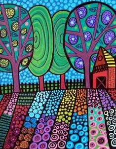 PRINT Modern Primitive Trees Red Barn Folk Art Painting