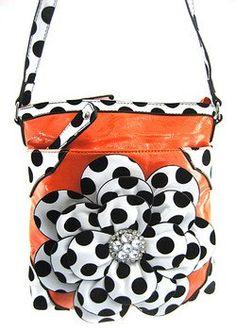 Cross Body Adjustable Strap Hipster Bag Soft Polka Dots 3d Raised Flower Purse Orange $29.99