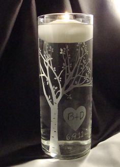 Rustic Blooming  Sweetheart Tree Personalized Etched Glass Unity Candle Vase w…