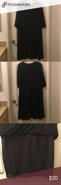 Flowing and fitted black Merona dress. This dress looks soft and flowy and has a spandex lining that helps keep all your wobbly bits in place. Still manages to be comfortable. Only worn once. Feel free to make an offer. Merona Dresses