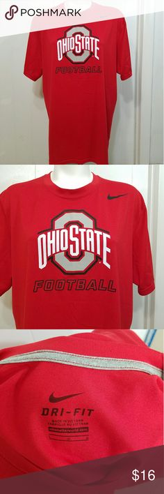 Mens Ohio State Buckeyes Football Nike Dri-Fit Tee Nike Dri-Fit size large mens Ohio State Buckeyes Football tee. Excellent condition except for a tiny hole up on the back of the collar that is pictured from a price tag. Otherwise no flaws! Perfect for you Ohio State fan in your life :) Nike Shirts Tees - Short Sleeve