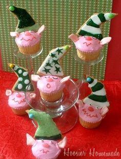 Elf cookie cupcakes
