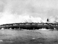 Sinking of SMS Blucher at the Battle of Dogger Bank, 1915.  Photograph Courtesy of the National Archives & Records Administration