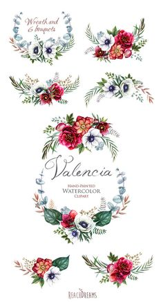 Wedding Watercolor Wreath & Bouquets Helleborus Flowers