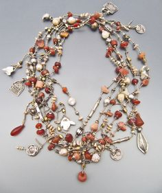 Antique Mali carnelian, antique India silver and Orissa bronze, fresh water pearls LuciaAntonelli.com