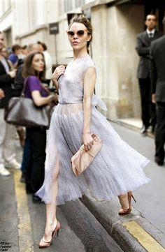 Ulyana Sergeenko in sheer grey dress with nude accessories