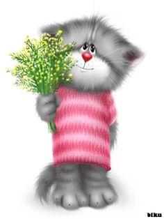 View album on Yandex. Crazy Cat Lady, Crazy Cats, Kitten Cartoon, Cat Cupcakes, Gifs, Tatty Teddy, Cute Gif, Illustrations, Cat Art