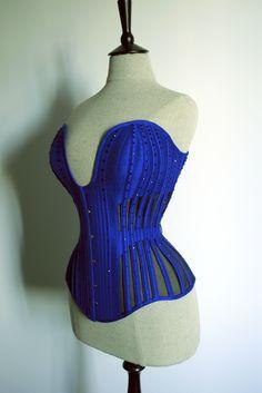 Cobalt blue cage (skeleton) corset
