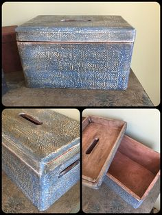 Greek Blue wooden storage box, painted with Chalk Paint by Annie Sloan.