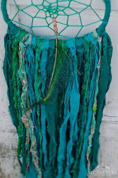 Dreamcatcher, Bohemian, Gypsy Wall Art, Green, Dream Catcher, Blue, Boho Chic, Peacock, Sari Silk, Native, Wall Hanging, Boho Decor by Studio Yuki