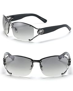 Gucci Split Temple Aviator Sunglasses with Crystal GG's | Bloomingdale's