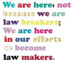 Tatty Devine - 'We are here, not because we are law breakers;We are here in our efforts to become law makers.', laser cut acrylic and metal chain, of 25 x 120 cm. Tatty Devine, Laser Cut Acrylic, Metal Chain, Laser Cutting, Effort, Law
