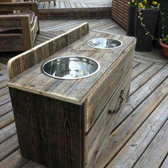 Raised dog feeder with drawer. Barn board