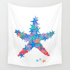 Starfish Coral Wall Tapestry - Starfish Coral design. Watercolor and digital ocean inspired design. Colorful beach themed decor. #ocean #starfish #tropical #beach #ocean #fish #watercolor #tapestry #wallart Interior design