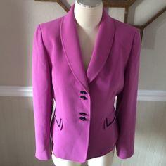 "Tahari blazer Pretty and classy pink blazer with black trim.  Size 8 petite.  GUC!  Measures 22"" long and 19"" armpit to armpit.  Firm unless bundled Tahari Jackets & Coats Blazers"
