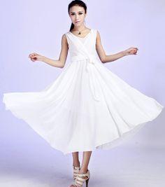 maxi chiffon dress  wedding dress white dress 607 by xiaolizi, $109.00