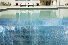 Mosaic Glass Blox Tile Pool Design With Rectangular Shape With Lounge Relax Chair Cool Swimming Pool Mosaic Tiles Design Ideas