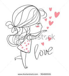 Find Beautiful Girl Heart stock images in HD and millions of other royalty-free stock photos, illustrations and vectors in the Shutterstock collection. Couple Drawings, Love Drawings, Art Drawings, Doodles Bonitos, Valentines Day Drawing, Romantic Girl, Dibujos Cute, Cute Doodles, Art Graphique