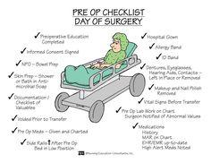 Pre Op Checklist - Day of Surgery Nursing School Notes, Nursing School Graduation, Nursing Schools, Lpn Schools, Medical School, Registered Nurse School, Med Surg Nursing, Ob Nursing, Nursing Career