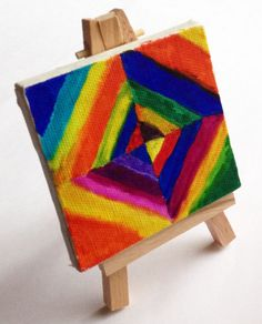 Mini Diamond Kandinsky Painting. Do this with graph paper and show them geometric art from around the world to inspire them. I used to make intricate graph paper art in 4th grade while our teacher read to us. Loved it.