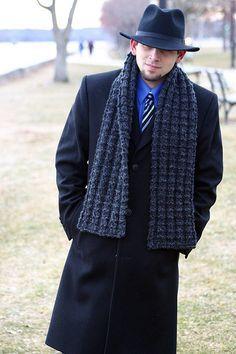 Boyfriend Scarf by stitchstitch-easy free knitting pattern. Mens Scarf Knitting Pattern, Loom Knitting, Knitting Patterns Free, Free Knitting, Crochet Patterns, Free Pattern, Finger Knitting, Scarf Patterns, Fun Patterns