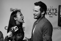 Zoe Saldana and Chris Pratt attend Spike TV's Guys Choice 2015 at Sony Pictures Studios on June 6, 2015 in Culver City, California.