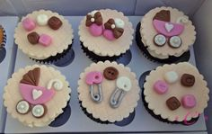 Baby Shower Cupcakes by user Beheeka on cakecentral.com.  Oh my goodness are these cute or what?!!