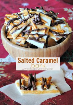 Salted Caramel Bark: delicious copycat recipe from Costco...1/4 cup butter  1/4 cup brown sugar  1 1/2 Tbsp milk  1/4 tsp vanilla extract  1/2 cup powdered sugar  1/2 tsp kosher salt  16 oz vanilla candy coating  3/4 cup milk chocolate morsels  1 1/2 cup pretzels, broken