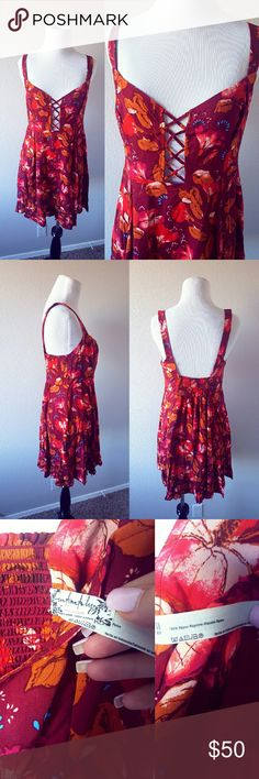 {Free People} Dress Gorgeous Fall colored pattern. Expandable waistline. No holes or stains.  *No trades *Bundle to 10% Free People Dresses Mini