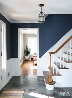 - Stairway Designs & Ideas - A look at my newly painted entryway. Color: Farrow and Ball Stiffkey Blue A look at my newly painted entryway. Color: Farrow and Ball Stiffkey Blue Hallway Colours, Room Colors, Entryway Paint Colors, Stiffkey Blue, White Hallway, Blue Hallway Paint, Dark Blue Hallway, Halls, Flur Design