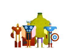 Superhero/ Avengers party.  Decor ideas. IronMan. Thor. The Incredible Hulk. Captain America. Colorful Animated Illustration GIF (1)