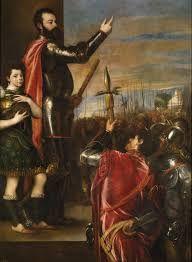 TIZIANO. Alocución del marqués del Vasto a sus soldados 1540 - 1541. Óleo sobre lienzo, 223 x 165 cm