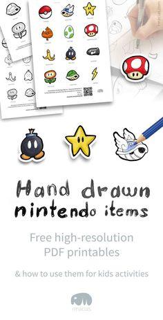 Hand-drawn Nintendo Items - Free printable and DIY games ideas with items from popular Nintendo games like Mario Bros, Pokemon, Mario-Kart, Donkey Kong and... darn it, I forgot Zelda!  By Rodrigo Macias