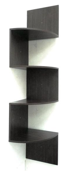 Modern Staggering Corner Bookshelf in Espresso