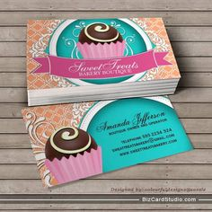 Bakery business cards templates free google search business chic and elegant cake bites business cards you can customize this card with your own text logo photo or use this pre existing template for free cheaphphosting Images